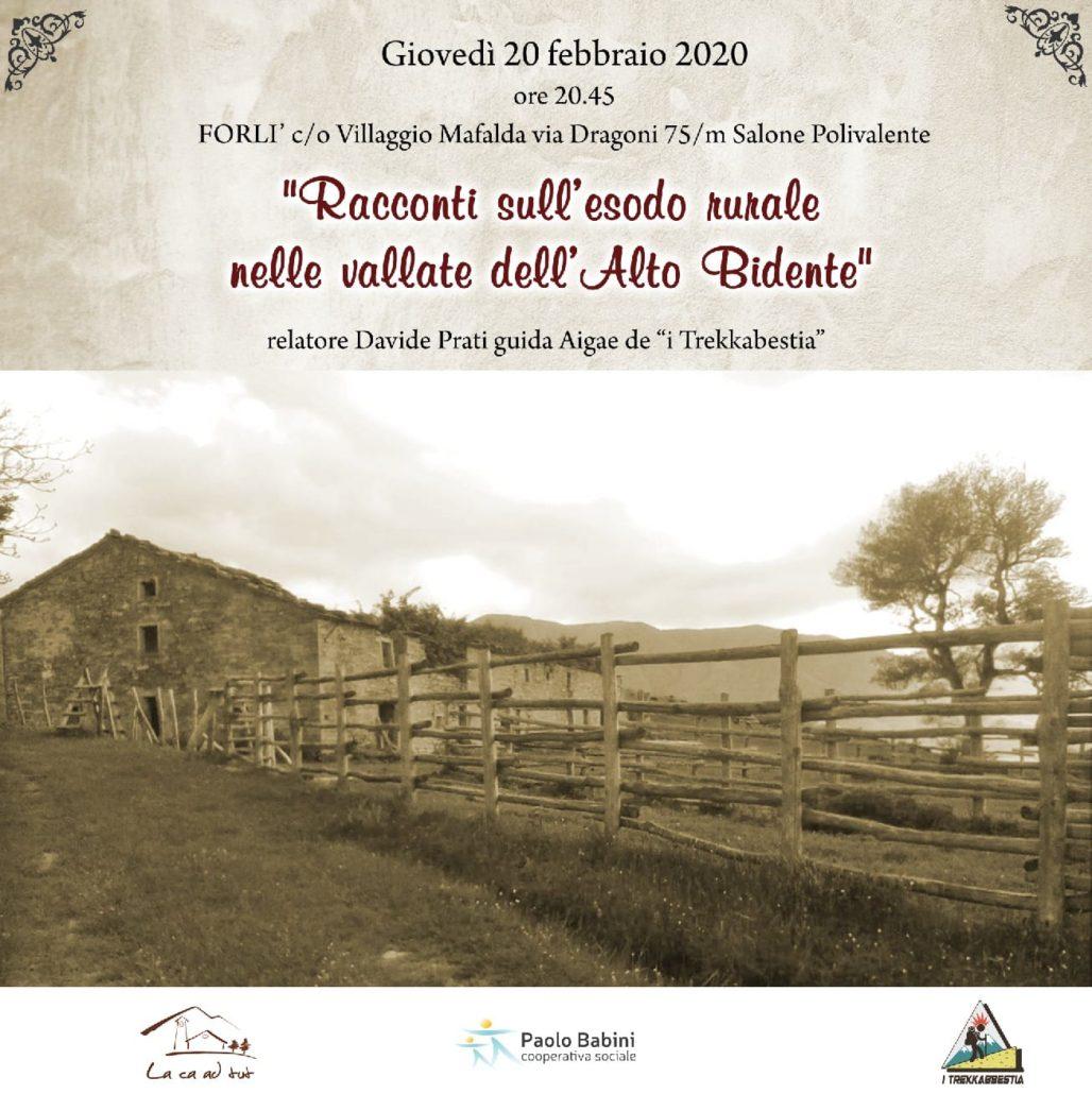 """""""RACCONTI SULL'ESODO RURALE NELLE VALLATE DELL'ALTO BIDENTE"""""""